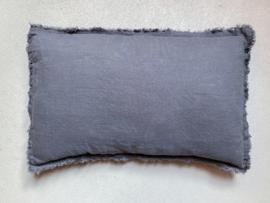 Malaga kussenhoes,  stonewashed linnen, Dark Grey