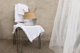Carine handdoek met gehaakt randje en franje, White, 50-100cm