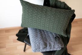 Holm, Wollen Kussenhoes met kabel, Dark Green