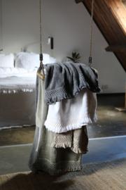 Carine handdoek met gehaakt randje en franje, White, 70-140cm
