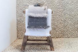 Carine handdoek met gehaakt randje en franje, White, 30x50cm