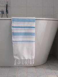 hamam handdoek wit/turquoise M