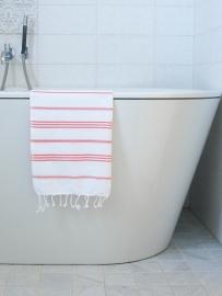 hamam handdoek wit/koraal S