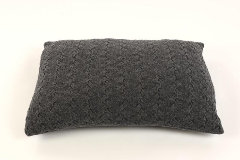 Holm, Wollen Kussenhoes met kabel, Dark grey