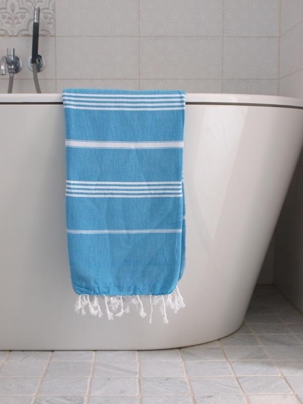 hamam handdoek turquoise/wit S