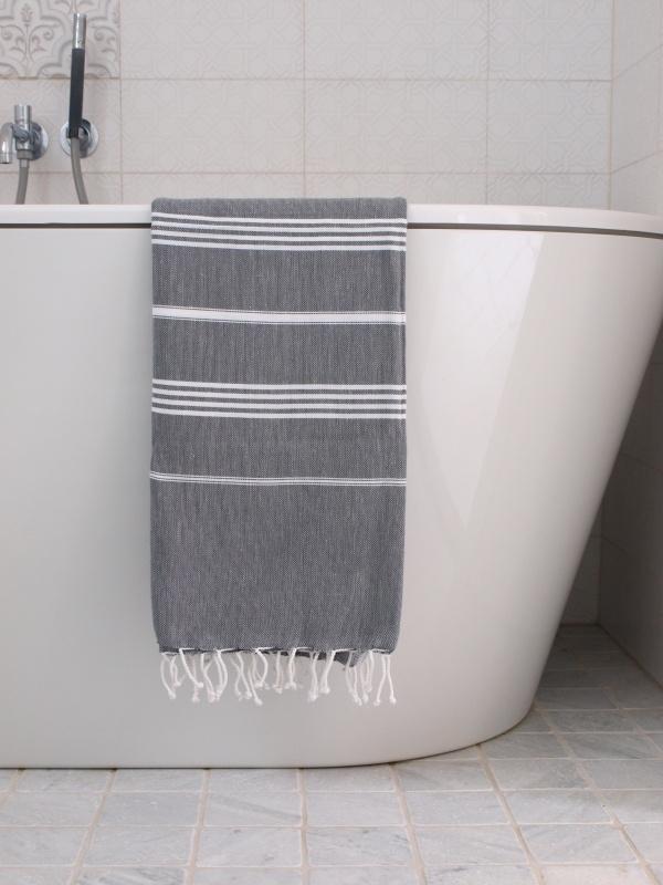 hamam handdoek dark grey/wit M