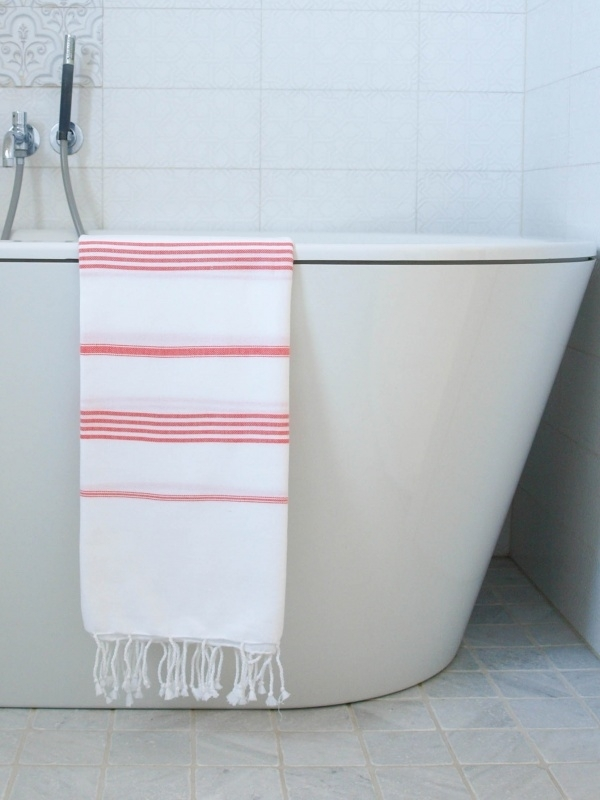 hamam handdoek wit/koraal M