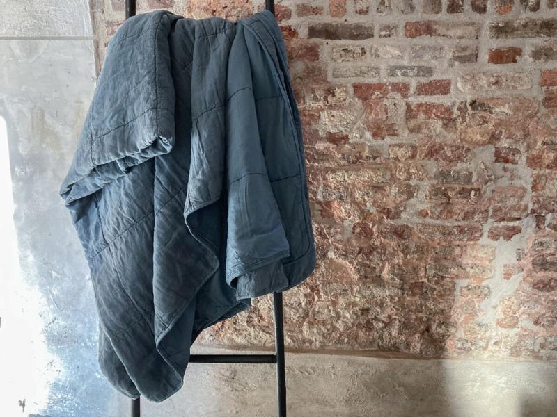 luxe stonewashed linnen sprei Nice, Greyblue