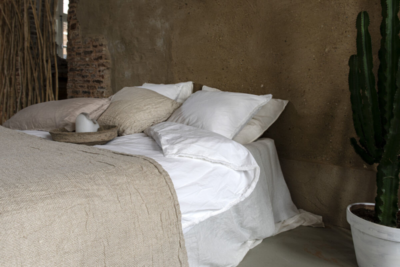 Dekbedovertrek Ibiza, Stonewashed cotton met rand franjes, White