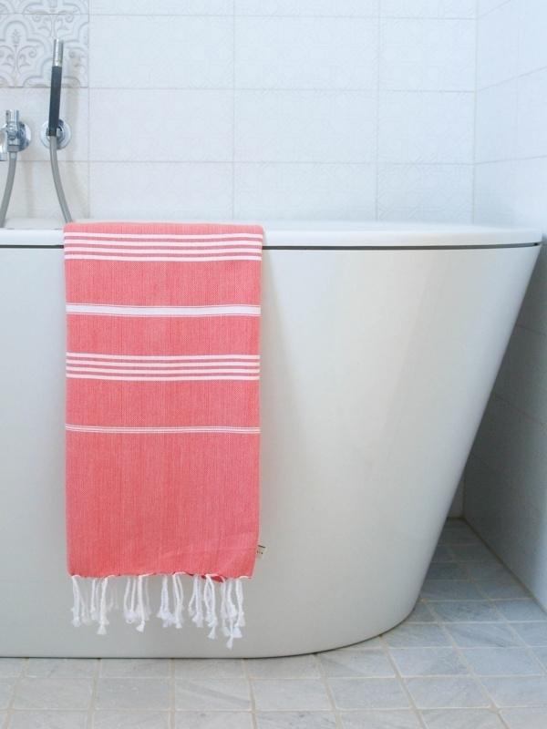 hamam handdoek koraal/wit M