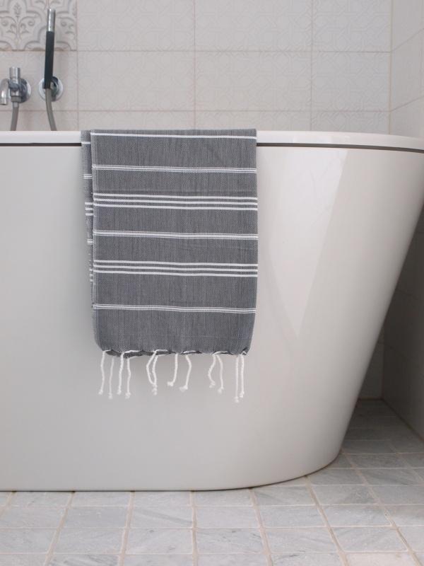 hamam handdoek dark grey/wit S