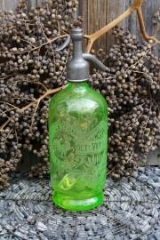 Prachtige Frans/Belgische spuitfles Knocke s/Mer (uraniumglas)