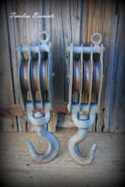 Industriële ijzeren katrol (25 cm)