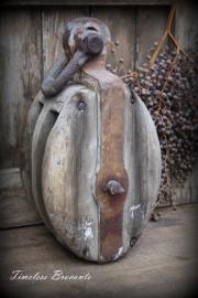 Robuuste oude houten katrol (14,5 kg)