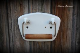 Geëmailleerde vintage toiletrolhouder
