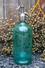 Franse turquoise spuitfles met gravure
