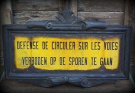 Zeldzaam antiek gietijzeren spoorweg- trambord