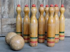Vintage houten kegelset