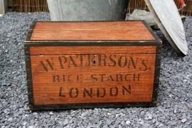 Antieke Engelse Paterson's London stijfselkist