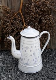 Koffiekan wit met blauw Saksisch motief