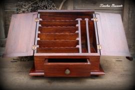 Engels mahonie houten notariskastje/brievenkastje/schrijfkastje