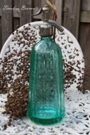 Turquoise spuitfles met gravure uit Frankrijk