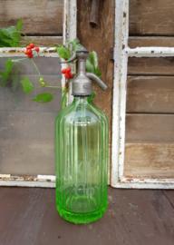Groene (uraniumglas) spuitfles/sifonfles/seltzerbottle