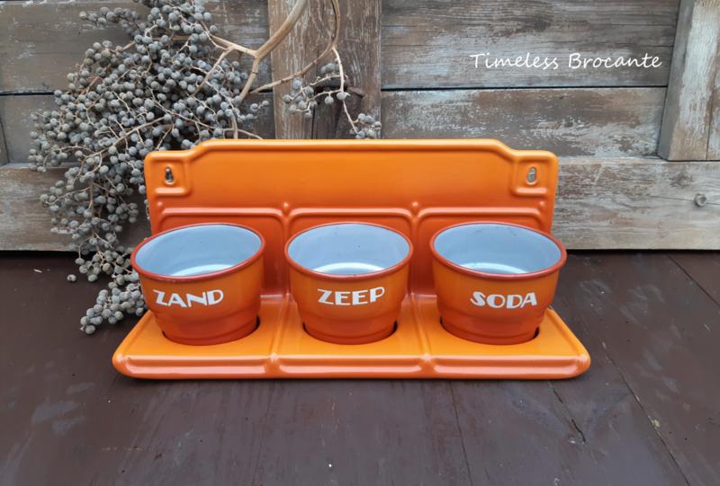 Emaille zand-zeep-soda rekje - oranje