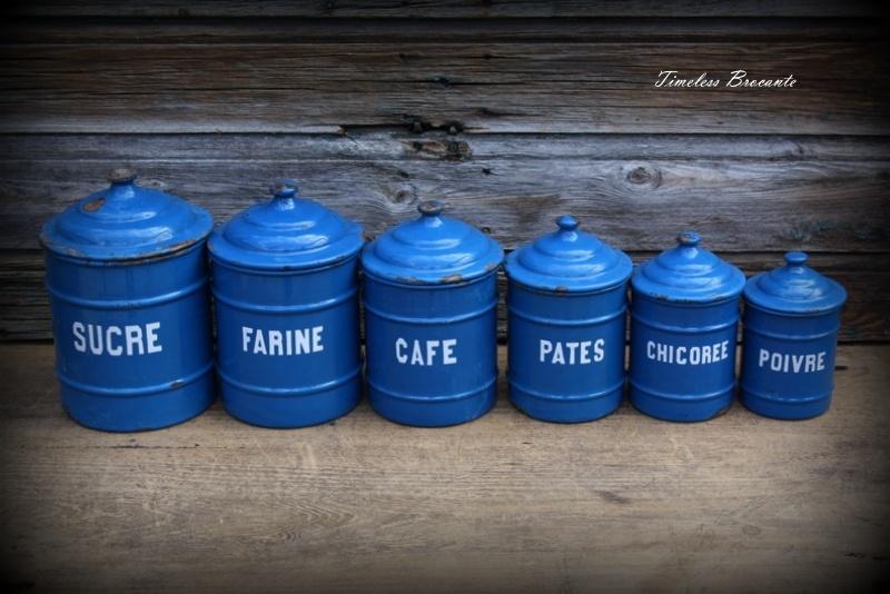 Franse petrolblauwe emaille voorraadpotten