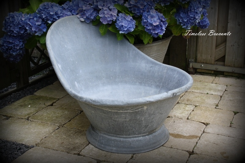 Antiek Frans zinken (kinder)zitbad