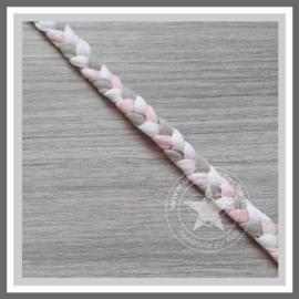 Gevlochten haarband zacht roze