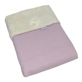 Deken teddy - wafel oud roze