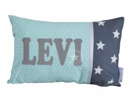 Kussen met naam xl mint ster - grijze ster xl Levi
