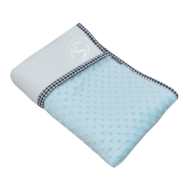 Deken super soft blauw duo - wit
