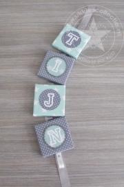 Naamkoord mint - grijs tijn