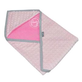 Wikkeldoek super soft roze - grijs