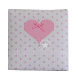Schilderij witte ster - roze hart
