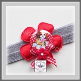 Fleur haarband rood - grijs