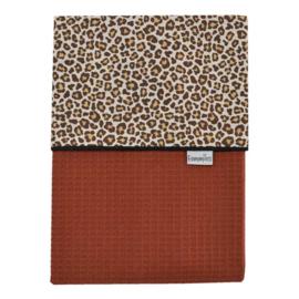 Deken roest wafel  - leopard bruin