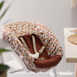 Newbornhoes triangels oker - roest - wafel roest