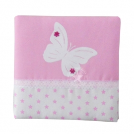 Schilderij witte ster - roze met vlinder
