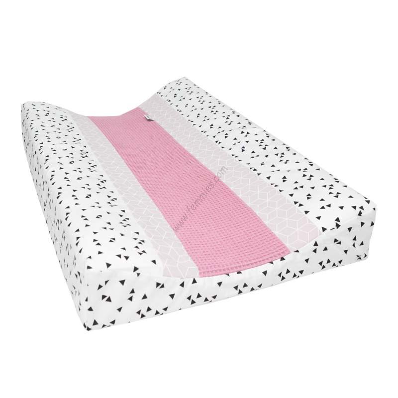 Aankleedkussenhoes oud roze - licht roze geo - zwarte driehoek