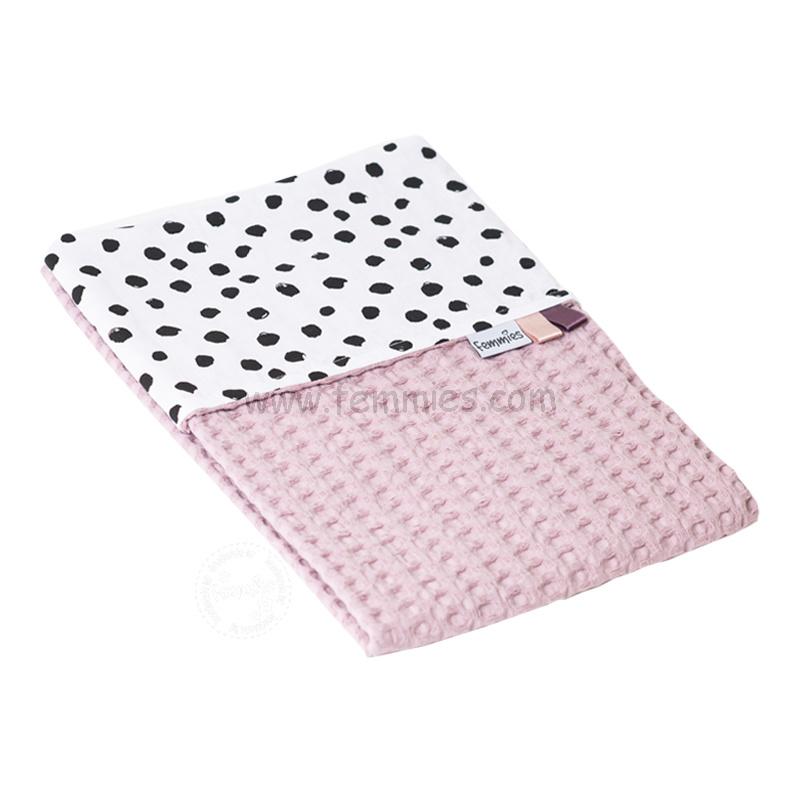 Wagendeken oud roze wafel - zwarte nop 2