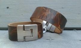 vintage heren armband gevlamd bruin