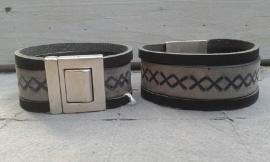 Vintage heren armband in zwart / grijs tinten