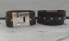 Vintage heren armband in bruin tinten