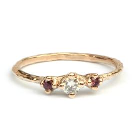 Ring Nico met diamant en rode saffier