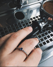 Witgouden ring met saffieren