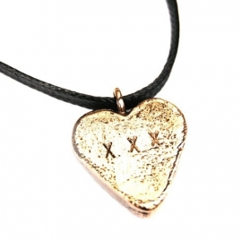 Bronze candy heart on a black chord