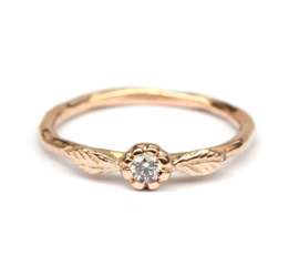 Rosegouden ring met natural light pink diamant